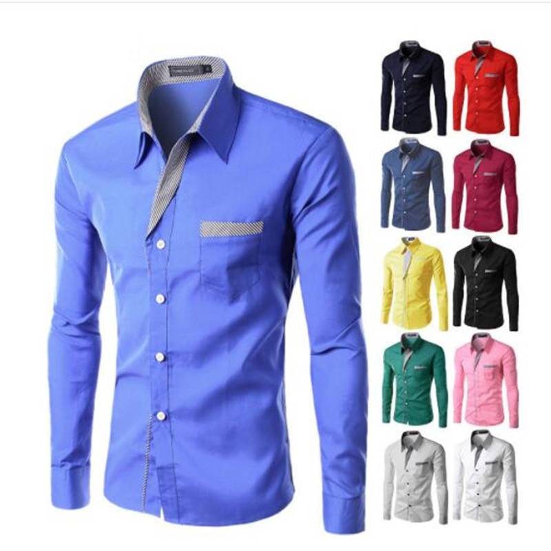 4XL Plus Size Brand-clothing Cotton Mens Clothing Solid Soft Men Shirt Long Sleeve Mens Shirts Casual Slim Fit Hot Sale
