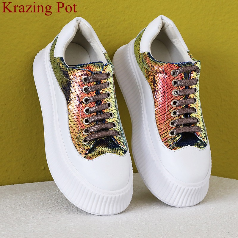 2019 big size lace up thick bottom bling casual shoes classic increased platform sneaker sweet summer