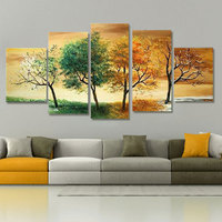 Hand painted 5 Piece Oil Paintings Modern Landscape Decorative Wall Art For Home Decoration 4 Season Tree Pictures On canvas