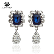 Fashion Brand Luxury Blue Crystal Square Geometry Earring Drop Fine jewelry Statement brincos Long Earrings For Women