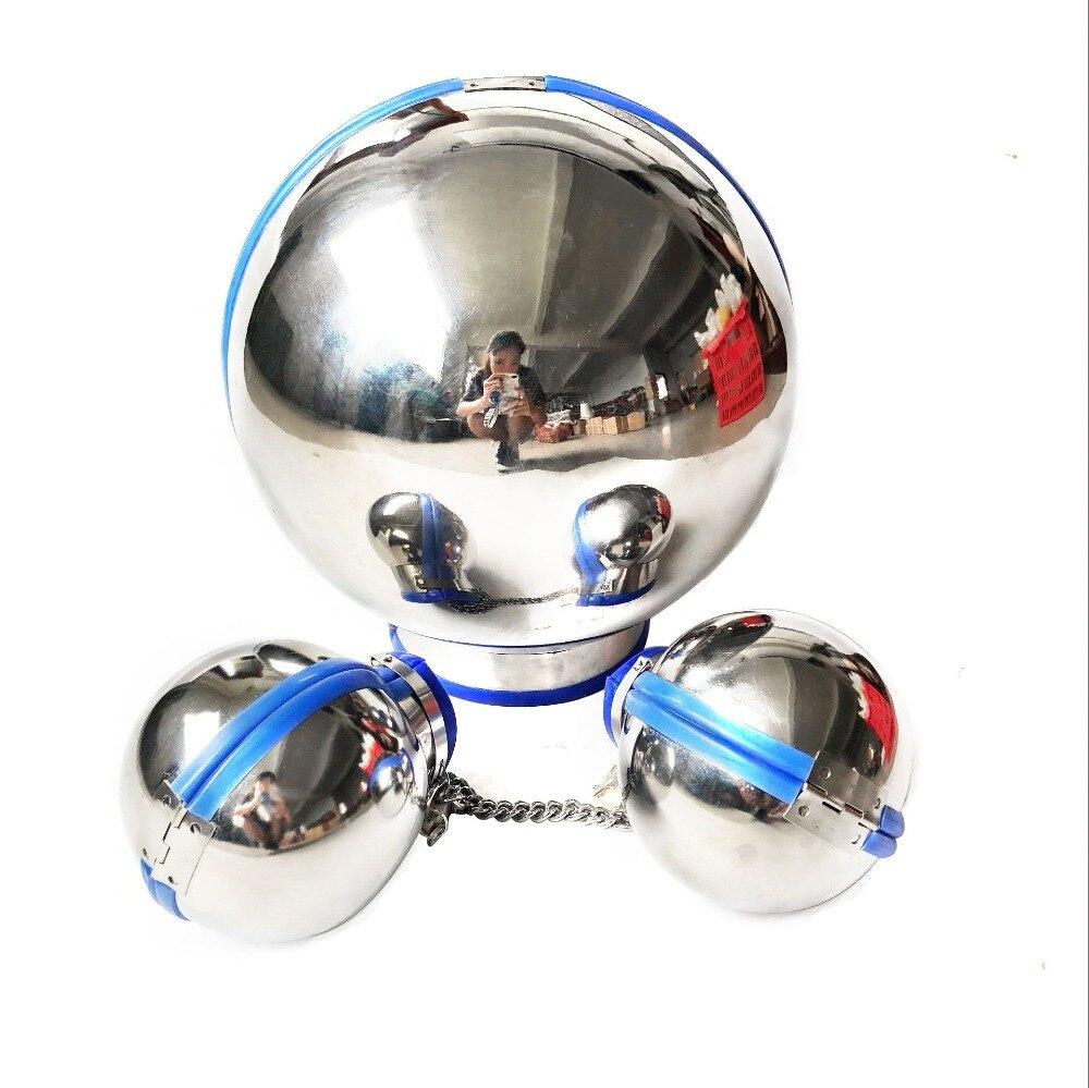 3 шт./компл. шлем бандаж из нержавеющей стали, капот + шаровые наручники для секс ограничений, комплект БДСМ, секс наручники для взрослых, секс