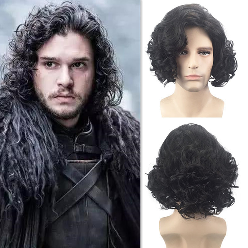 2019 Hot Game of Thrones Jon Snow Cosplay Costume Accessories Wig A Song of Ice and Fire Night's Watch Black short Hair Wig