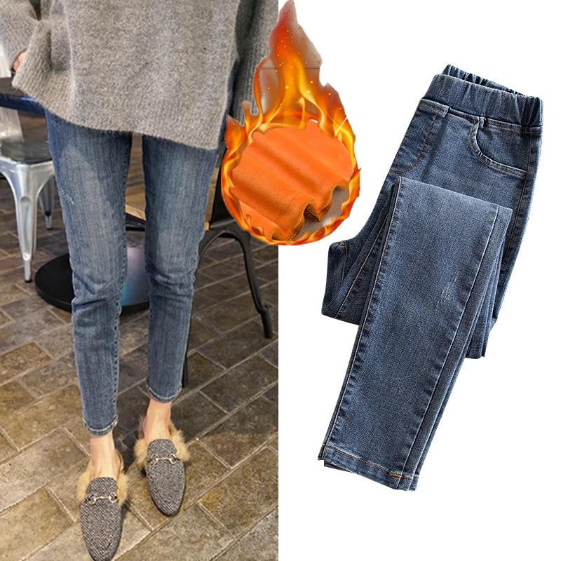 2019 Women Winter Jeans Thick Warm High Waist Jeans Large Size Slim Casual Jeans Pencil Pants 5xl Women Plus Size