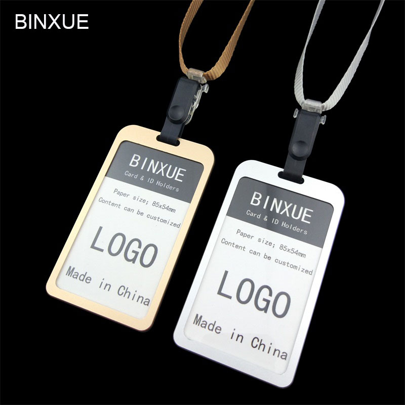 High-grade, Aluminum Alloy, Card Sets, Durable. The Cards, ID Badges And Lanyard, Hanging Clamp, Double Side Visible,BINXUE