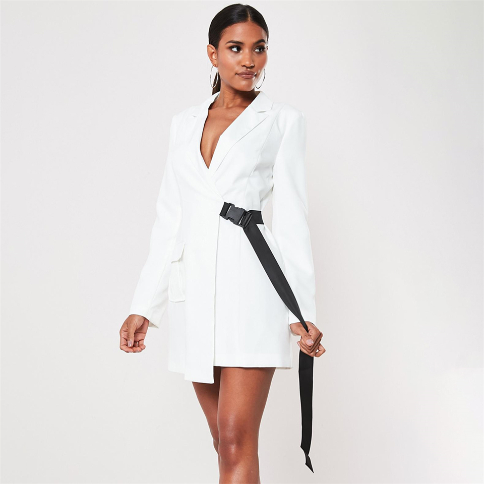 white-seatbelt-buckle-blazer-mini-dress