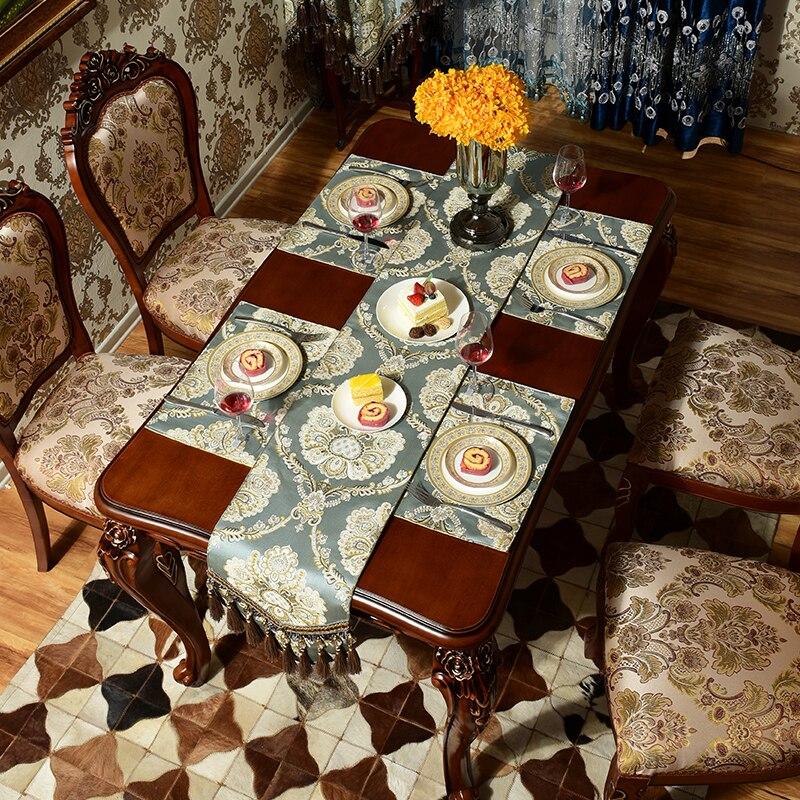 Mode Incroyable Imité Tissu De Soie D'or Jacquard Rural table de Dentelle chemin de Table De Luxe drapeau et Napperon
