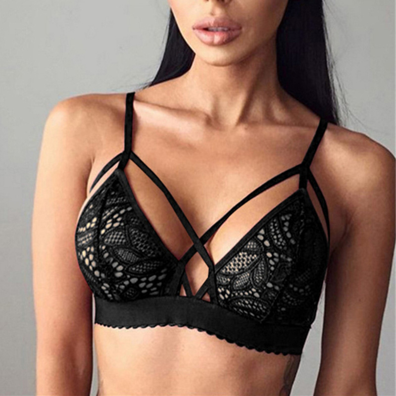 Women Sexy Crossing Bandage Crop Tops Floral Sheer Lace Bra Top Seamless Black Bralette Wireless bustier Tank Top Camis