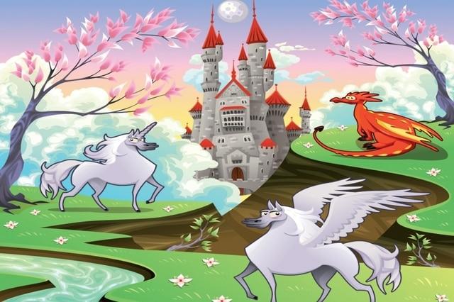 Mural Fairytale Unicorn Wallpaper Wall 3D For Children