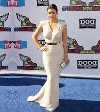 Kim Kardashian Gleiche Art Celebrity Kleider Chic Kappen-Hülsen V-Ausschnitt Stretch Sexy Meerjungfrau Abendkleider Günstige