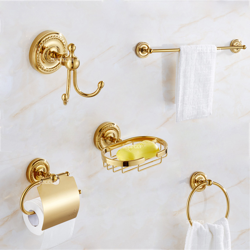 Luxury Gold Copper Bathroom 5 Accessories Hardware Sets Clothes Hook Soap Net Toilet Paper Stand Single Towel Rack Towel Ring fully copper bathroom towel ring holder silver