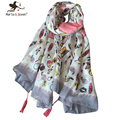 [Marte&Joven] 180*100 cm New Fashion Cute Hearts Printed Thin Shawls and Scarves Lady Brand Cartoon Foulard