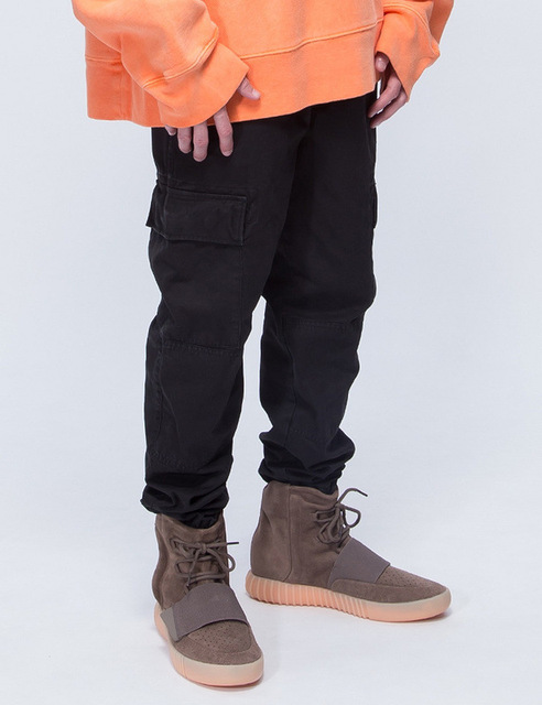 High street mens military style kanye west cargo pants with side multi pockets men casual harajuku hip hop washed pants joggers