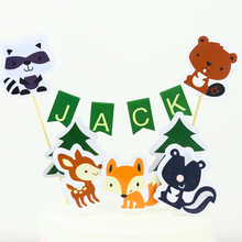 Woodland Cake Topper Animal Banner Birthday Party Decorations Forest Friends Baby Shower Decor