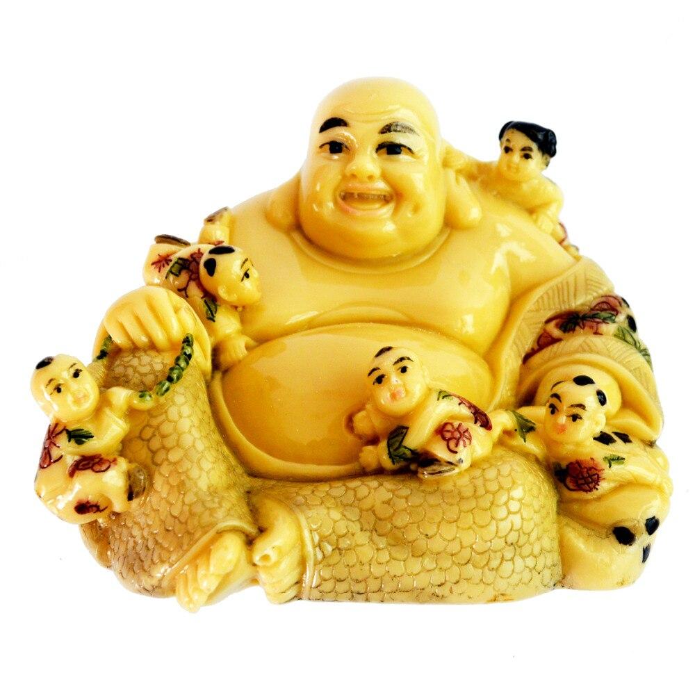 Fengshui couleur main peinture bouddha riant avec cinq enfants A1019
