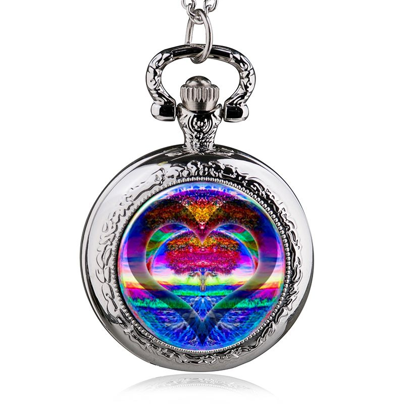 Fashion Style Heart Love Tree Of Life Quartz Pocket Watch Necklace Pendant Women Men Clock Gits ...