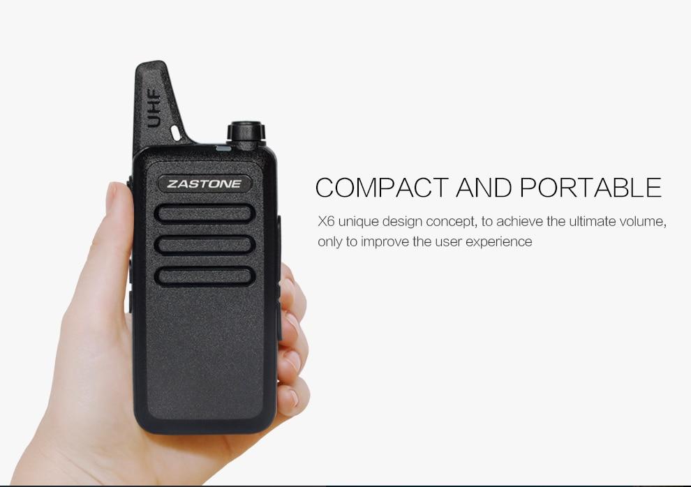 20pcs Zastone ZT-X6 Mini Ham Radio UHF 400-470MHz 16CH X6 Two Way Walkie Talkie