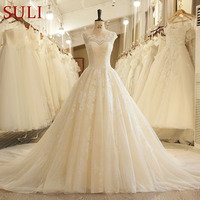 SL 125 Country Lace Open Back Lace Applique Beads Chapel Train Wedding Dress 2017