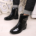 "Fashion Rain Boots British Men""s Platform PU Waterproof  Motorcycle Black All-season Cooker's Martin Boots Men Shoes 39-44"