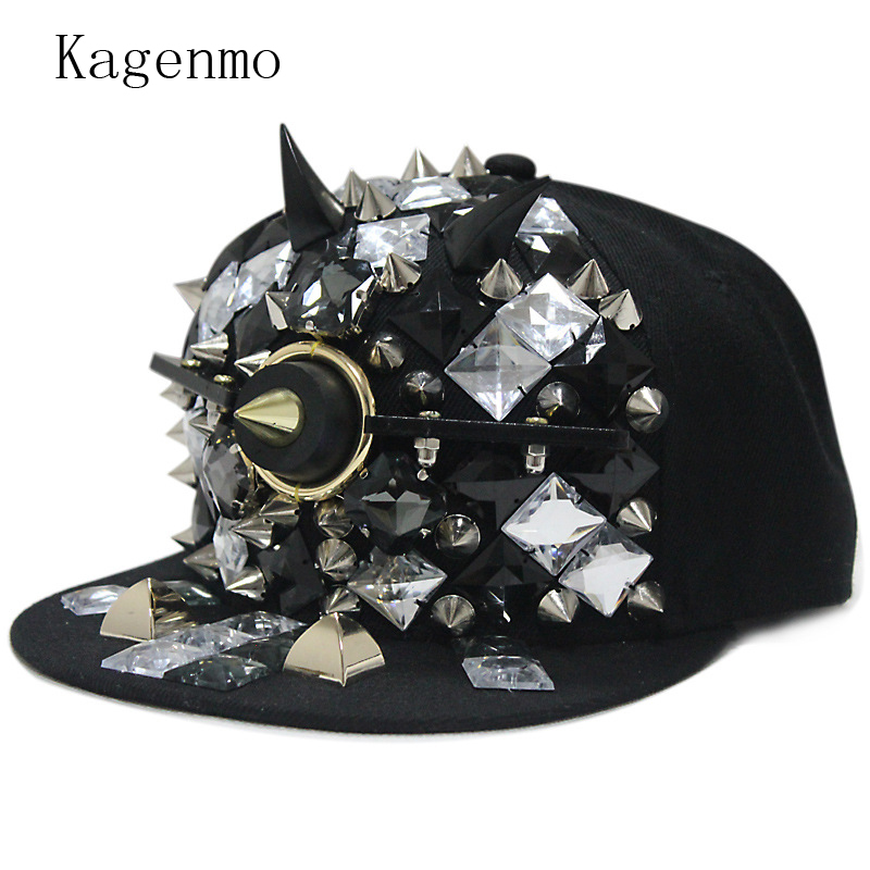 Kagenmo Exaggeration Prominent Hip Hop Baseball Cap Cool Men Fashion Visor Hip-Hop Dance Show Unisex Hat Rivet Style hot winter beanie knit crochet ski hat plicate baggy oversized slouch unisex cap