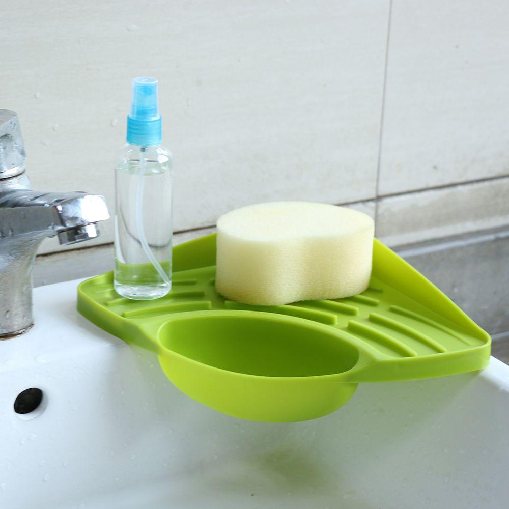 1pc kitchen sink corner storage rack sponge holder wall mounted dishes drip rack bathroom soap dish. Interior Design Ideas. Home Design Ideas