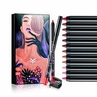 Huamianli 12 Renkler/set Mat Dudaklar Için Dudak Kalemi Suya Uzun Ömürlü Lipliner Kalem Profesyonel Makyaj Kozmetik Araçları