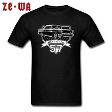 57 Chevy Chevrolet Car T Shirt Open Cars Limousine Retro Tshirts Print O Neck All Cotton Tops Shirts Fathers Day Men Free Ship