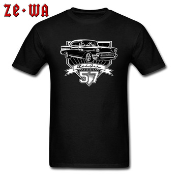 57 Chevy Chevrolet Car T Shirt Open Cars Limousine Retro Tshirts Print O Neck All Cotton Tops Shirts Father's Day Men Free Ship image