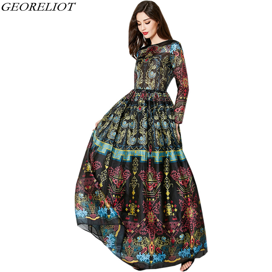 Luxury Vintage Print Runway Dress 2017 New Fashion Women O-Neck Ball Gown Tunic Long Maxi Evening Party Dresses Vestido De Festa