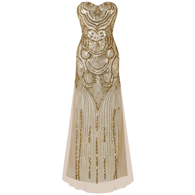 Women Great Gatsby Dress 1920s Flapper Maxi Dress Roaring 20s Long Sequins  Sleeveless Party Dress for Prom 1c4011bbfac2