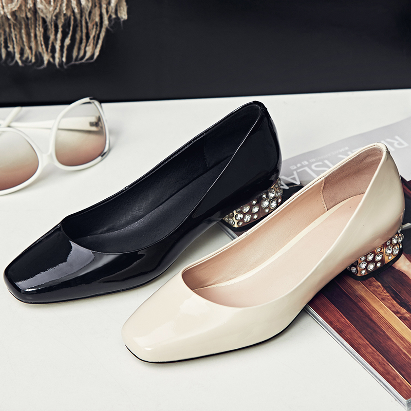 New Fashion Large Size Genuine Leather Low Heel Women Pumps Square Toe Sexy Shoes Office Lady Sweet Rhinestone Causal Shoes 2017 new fashion brand spring shoes large size crystal pointed toe kid suede thick heel women pumps party sweet office lady shoe