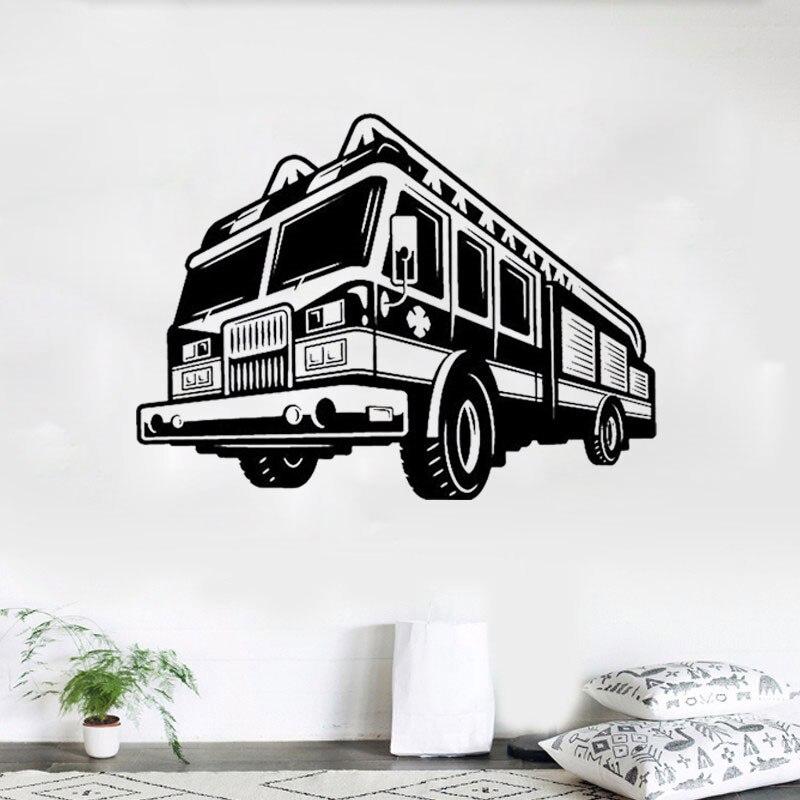 Us 14 99 Firetruck Firefighter Wall Decal Art Decor Sticker Gift Nursery Vinyl In