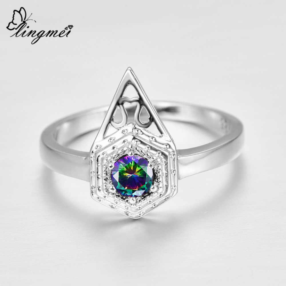 Lingmei חדש מגיע מדהים עגול Cut צבעים & ירוק מעוקב Zirconia סטרלינג כסף 925 טבעת גודל 6 7 8 9 חתונה נשים מתנה