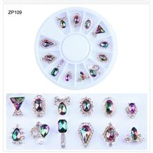 цена на 1 wheel Irregular Shape 3D Nail Art Decoration 12designs Rhinestones Gems UV Gel Polish Stones Glitter For 3D Tips Manicure S346