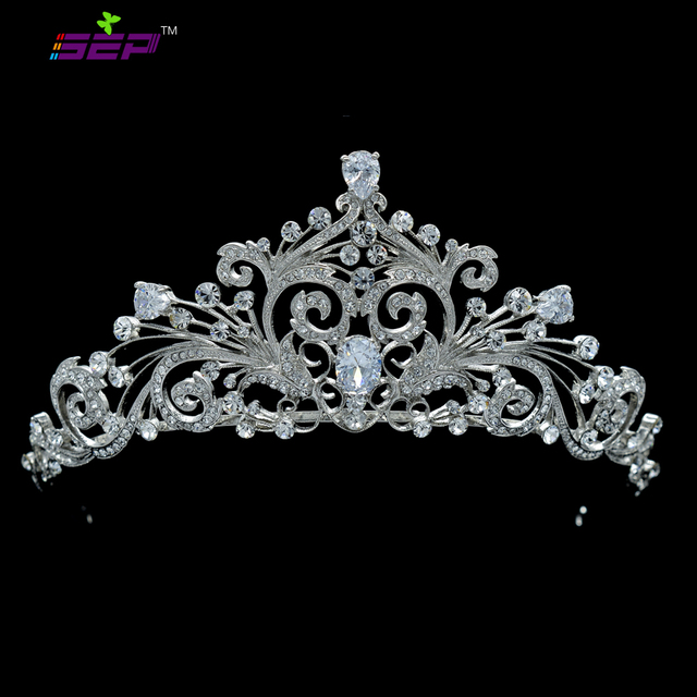 Wedding Tiara AAA+ CZ Zircon Drop Flower Hair Accessories Tiaras and Crowns Austrian Crystal JHA7858
