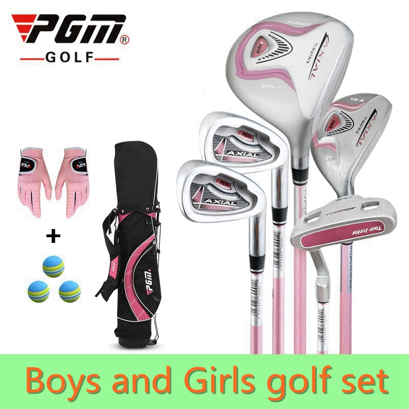 PGM 5-pieces Junior Golf Clubs Set with Bag for Kids Graphite Shaft. Better than steel shaft for kids. The safest kids golf sets free shipping pgm mens golf clubs complete set of graphite shaft with standard bag titanium alloy for rod