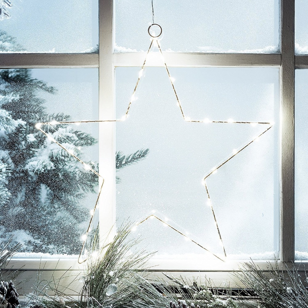 LED Star Curtain Lights,2 Sets Battery Copper Wire Light,String Light For  Outdoor