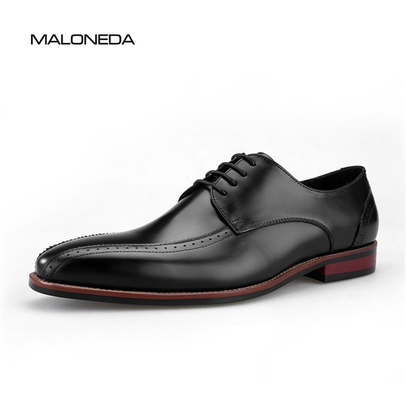MALONEDA Mens Handmade Leather Shoes Lace-up Oxford Dress Shoes For Wedding ,Party ,Business,Working Wearing цены онлайн