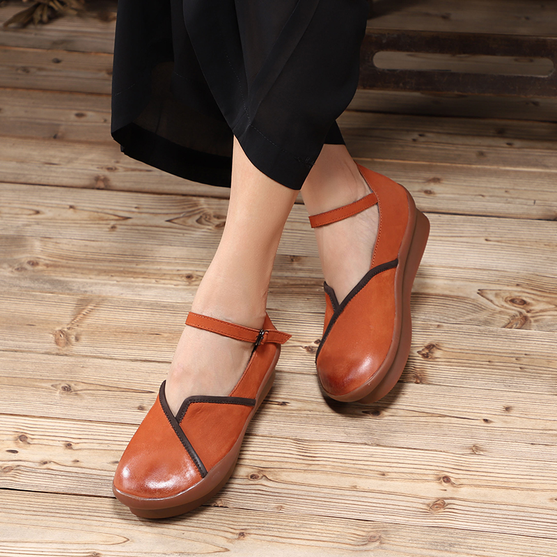 VALLU Buckle Strappy Women' s Flat Shoes 2018 Handmade Real Cow Leather Lady Flats New Arrival Female Leisure Shoes-in Women's Flats from Shoes    1