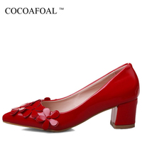 COCOAFOAL Woman Red Wedding Pumps Plus Size 33 43 Party Patent Leather Beige High Heels Shoes