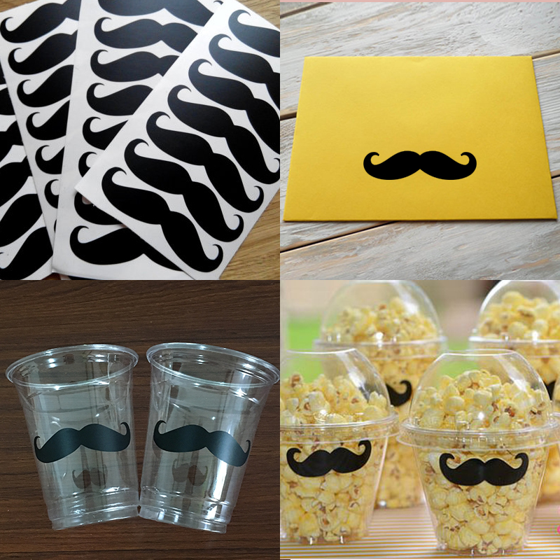 Vinyl Mustache Removable Wall Stickers, Födelsedag Baby Shower Decorations, Cup Dekaler, Bröllop Kuvert Sticker Seals