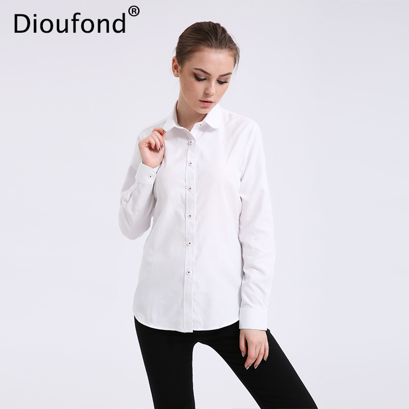 Dioufond Solid Oxford Mint Women Camicette a maniche lunghe Camicetta causale Shirt Design semplice Ladies Office Shirt Estate 2017 S-5XL