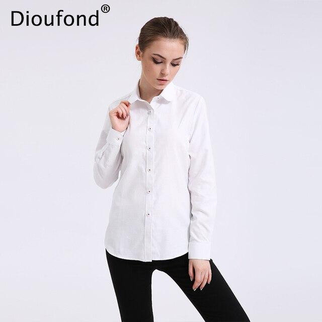 Dioufond Solid Oxford Мяты женские блузки с длинным рукавом Причинно блузка рубашка Простой дизайн офисная рубашка Лето 2017 S-5XL