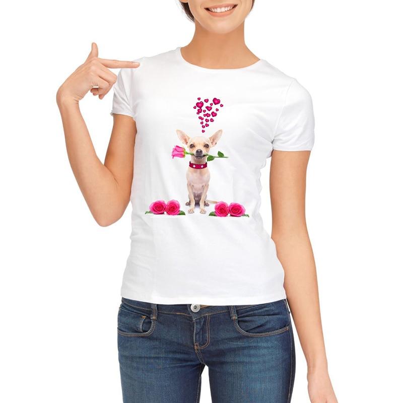 2019 Romantic Rose Dog Print Tričko Mops Dárek Čivava / Francouzský býk s růží Valentýnské tričko bílé Krátký rukáv Dámské tričko