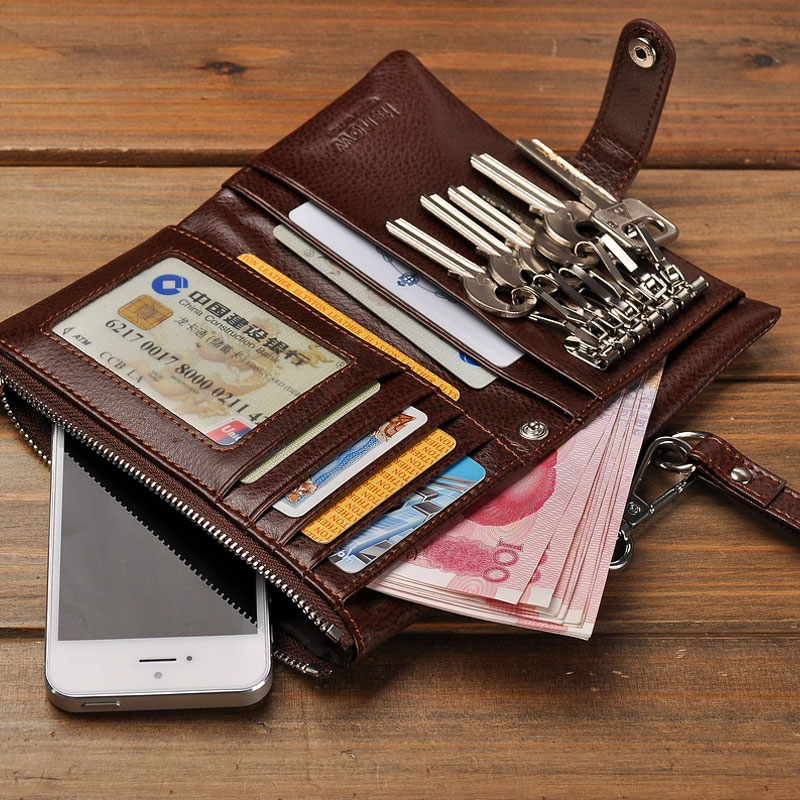 Fashion Men Genuine Leather Car Key Wallet, with Sling, Solid color Credit Card Holder, Photo Slot,multi-function, brown/ black shunwei sd 1130g multi function car cellphone eyeglasses small items holder black
