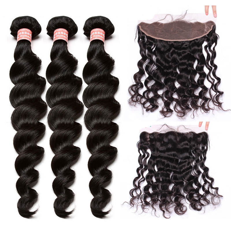 3 Human Hair Bundles With Closure Lace Frontal Closure Brazilian Hair Weave Loose Wave Bundles With Closure Honey Queen Remy