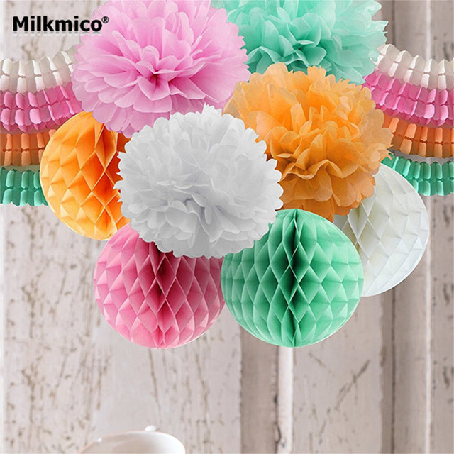 Diy Party Decoration Set String Garlands Bouquet Honeycomb Ball Tissue Paper Pom