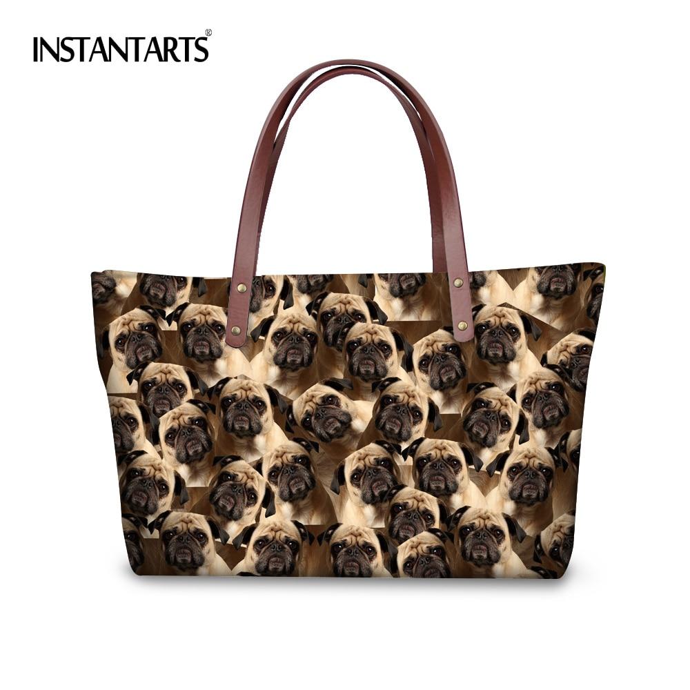 INSTANTARTS Puzzle Dog Big Women Handbags Ladies Shopping Shoulder Bags Cute Animal Printing High Quality Fashion Top Handle Bag