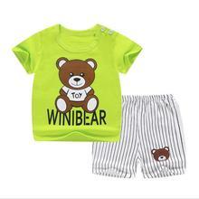 Children Short Sleeve Set Pure Cotton Girl Summer Boys Shorts Baby Clothes Korean Childrens