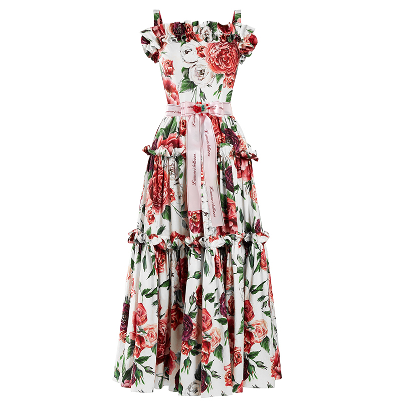Fashion Summer Itian Style Elegant Women Sleeveless Floral Printing Ruffles Ball Gown Dresses Spaghetti Strap Sweet Midi Dress