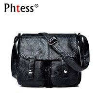 2017 Women Messenger Bags Black Leather Handbags Small Crossbody Bags For Women Bolsa Feminina Female Vintage